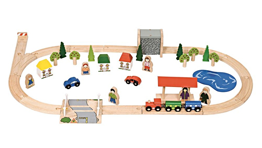 Circuit de train en bois ovale compatible brio et Ikéa. Jouet de construction Bigjigs