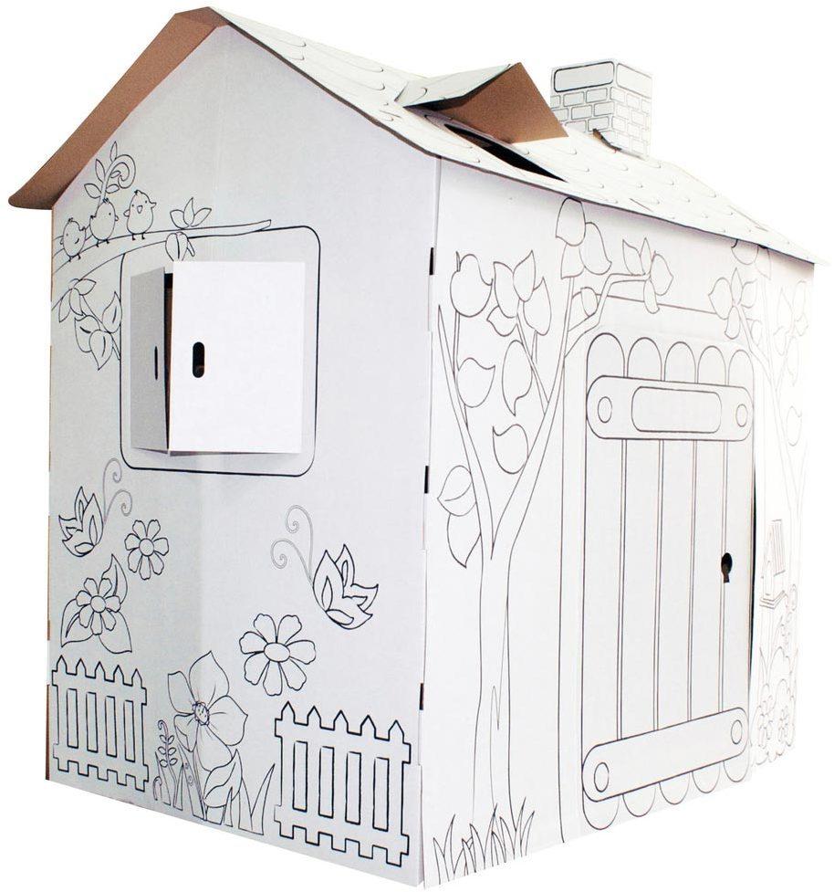 cabane en carton colorier maison chez les enfants. Black Bedroom Furniture Sets. Home Design Ideas