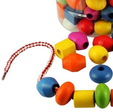 baril de 90 grosses perles en bois enfiler pastel chez les enfants. Black Bedroom Furniture Sets. Home Design Ideas