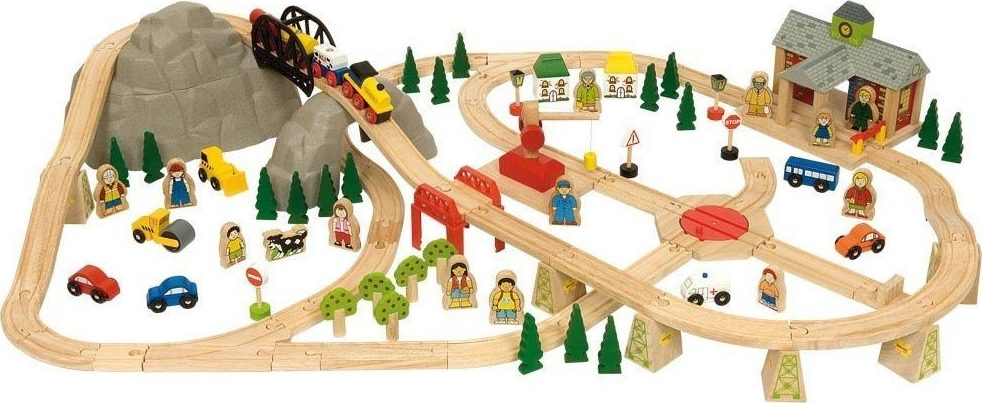 circuit de train en bois montagne chez les enfants. Black Bedroom Furniture Sets. Home Design Ideas