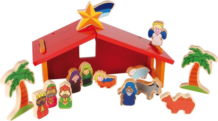 creche noel enfant Crèche de Noël et santons laqués en bois   Chez les enfants creche noel enfant