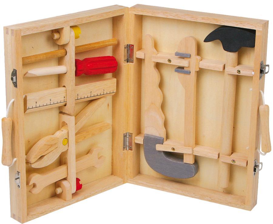 boite outils en bois pour petit bricoleur d butant chez les enfants. Black Bedroom Furniture Sets. Home Design Ideas